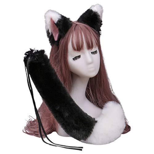 Qiman Diadema de pelo sintético con orejas de gatito y lobo, color de contraste, accesorio para disfraz de animal, Navidad, Halloween, fiesta