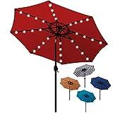 Blissun 9 ft Solar Umbrella 32 LED Lighted Patio Umbrella Table Market Umbrella with Tilt and Crank...