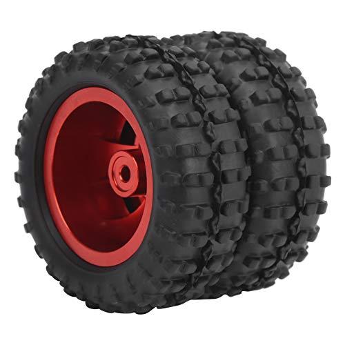 WNSC Neumáticos de Goma RC, prácticos y ecológicos Neumático Trasero RC Llanta de aleación de Aluminio para camión RC para una conducción Estable y Flexible(Red R)