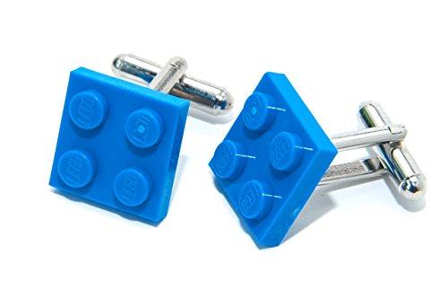 Jeff Jeffers Lego Plaque boutons de manchette bleu avec fabriqu&eacute