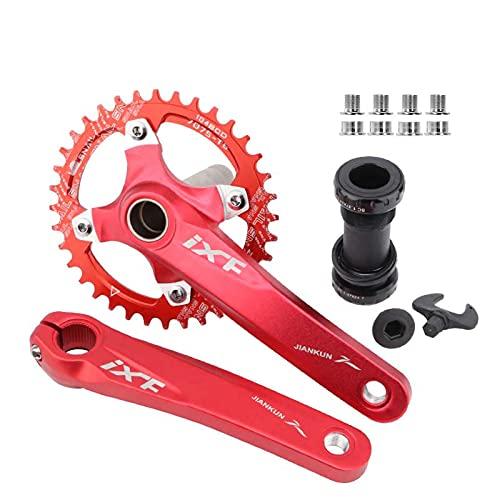 Juego De Bielas De Bicicleta BCD 104 para Bicicleta,Aleación De Aluminio, De Montaña con Soporte Inferior Y Pernos De Cadena De 170 Mm 32T/Rojo