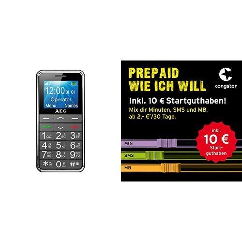 Mobiltelefon AEG Voxtel M250 Senioren-Handy mit großen Tasten und ohne Vertrag | Mit Notruf-Knopf & congstar Prepaid wie ich will Dein Wunschmix in bester D-Netz-Qualität inkl. 10 EUR Startguthaben.