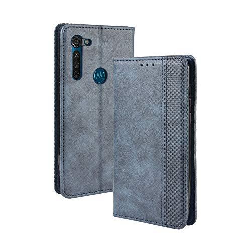 LAGUI Compatible para Funda Motorola Moto G8 Power, Carcasa Tipo Libro Protector Magn閠ico y Plegable de PU Soporte de Ranuras para Tarjetas, Azul