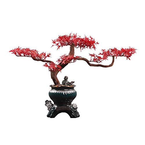 Artificial plant Creative Chinese-style Root Carving Crafts Ornaments, Zen Artificial Red Maple Fake Bonsai Home Decoration, Ceramic Flower Pot Artificial Potted Ceramic Figurine Artificial Bonsai Tre