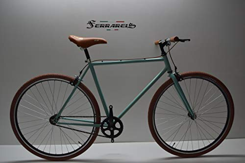 Cicli Ferrareis Bici Bicicletta Fixed Bike 28 Scatto Fisso Single Speed Verde Acqua e Marrone Personalizzabile