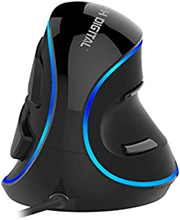 J-Tech Digital Wired Ergonomic Vertical USB Mouse with Adjustable Sensitivity (600/1000/1600 DPI), Scroll Endurance, Removable Palm Rest & Thumb Buttons [V628]