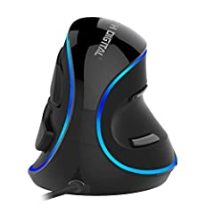 """√ ERGONOMIC DESIGN – Designed to be utilized in neutral """"handshake"""" wrist and arm positions for smoother movement and less overall strain helping alleviate wrist pain. √ REMOVABLE PALM REST & BLUE LED TRIM – This mouse comes included with a palm rest..."""