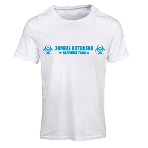 Frauen T-Shirt Zombie Outbreak Response Team (XX-Large Weiß Blau)