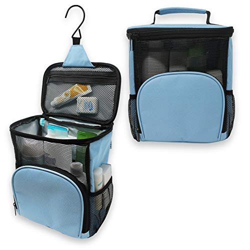TERRA HOME Portable Shower Caddy Dorm - Large Capacity, Quick Dry with Metal Hook - Hanging Shower Bag - Breathable Mesh Toiletry Shower Tote for Gym and College Dorm (Light Blue)