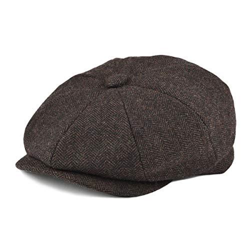 BOTVELA Men's 8 Piece Wool Blend Newsboy Flat Cap Herringbone Tweed Hat (Coffee, 7 5/8)