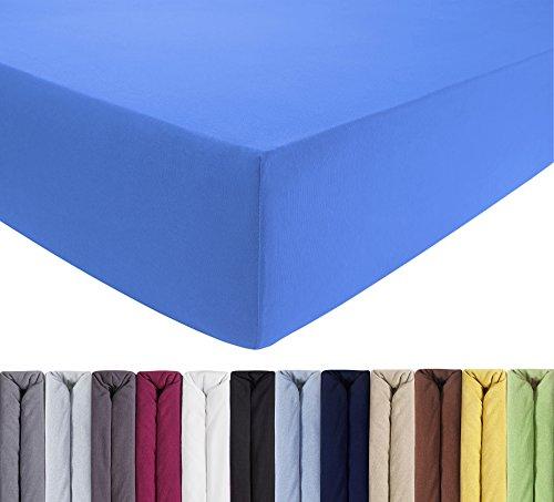 ENTSPANNO Jersey Spannbettlaken 140 x 200 | 160 x 220 cm für Wasser- und Boxspringbett in Königs-Blau aus gekämmter Baumwolle. Spannbetttuch mit Einlaufschutz, bis 40 cm hohe Matratzen