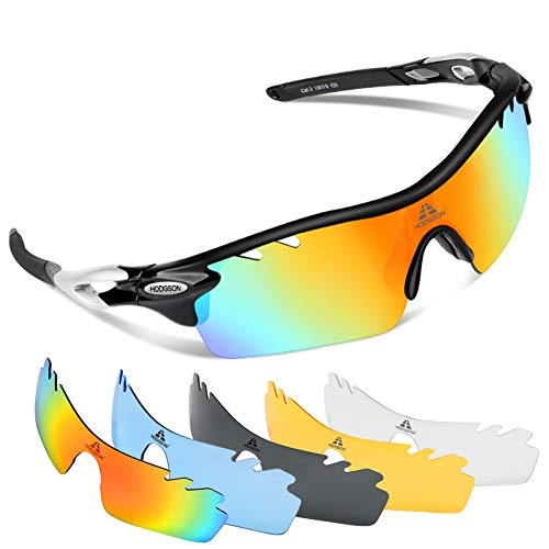 of ewin sunglasses brands HODGSON Polarized Sports Sunglasses for Men Women with 5 Interchangeable Lenses (Black/Silver)