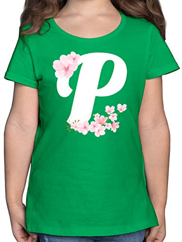 Anfangsbuchstaben Kind - Buchstabe P mit Kirschblüten - 128 (7/8 Jahre) - Grün - Kinder Shirt Buchstabe - F131K - Mädchen Kinder T-Shirt