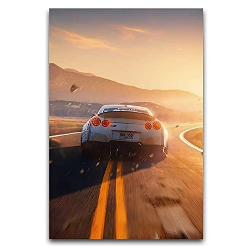KASUP Póster de Nissan GTR on Road, lienzo de arte exquisito, pintura para decoración de habitación, 35 x 52,5 cm