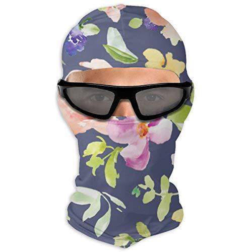 Nonebrand Kara Wasserfarben Blumenfeld auf Blau Vollgesichtsmaske Sonnenschutz Winddichte Maske Motorradmaske Sturmhaube Herren Damen Jugendliche Outdoor Sport Reiten Wandern Skifahren