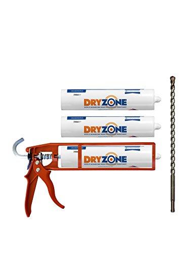 Dryzone Horizontalsperre Creme - Gegen Feuchte Wände und Aufsteigende Feuchtigkeit - WTA Zertifiziert - Dichtungspistole mit 3 Dichtungskartuschen à 310 ml. Bei Wandstärke von 240mm, Ergiebigkeit von 4,5 Meter Wandlänge behandelt.