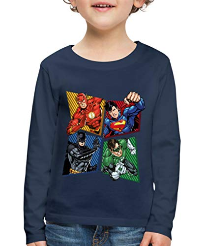 DC Comics Justice League Superhelden Kinder Premium Langarmshirt, 110-116, Navy