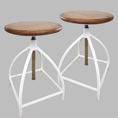 Juego de 2 taburetes de bar giratorios, altura regulable, estructura de metal, color blanco