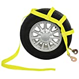 US Cargo Control Tow Dolly Basket Strap - Yellow Car Dolly Strap with Twisted Snap Hook End Fittings - Great for Tow Dolly Car Hauling - Fits Most 14-17 Inch Wheels - 3,333 Pound Working Load Limit