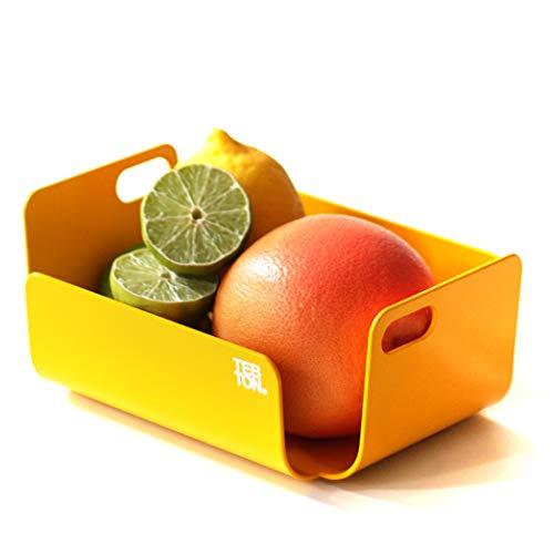 TEBTON® Made in Berlin | UNIBODY2 (Gelb, Small) – Obst-Schale aus Metall, lebensmittelgerechte Deko-Schale mit Griff, 22 x 16 x 8 cm (LxBxH)