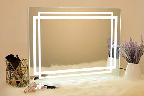 WAYKING Hollywood Spiegel mit LED Lichtstreifen-Beleuchtung Schminkspiegel mit 3 Lichtfarben, USB Ladeanschluss, Touch Steuerung, Großer Kosmetikspiegel für Makeup, Weiß(L58*H43CM)