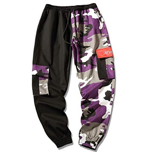 Pantalones de Camuflaje para Hombre Pantalones de chándal Holgados con Cordones Cintura elástica Pantalones con múltiples Bolsillos Pantalones de Hip-Hop de Streetwear para Hombre