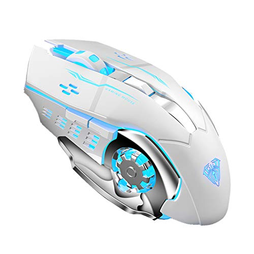 AULA SC100 White Wireless Gaming Mouse, with Rechargeable 800mAh Battery, RGB Backlight, Side Buttons Programmable, USB Receiver Cordless Gaming Mice for MAC Laptop, Notebook, Tablet, Computer (White)