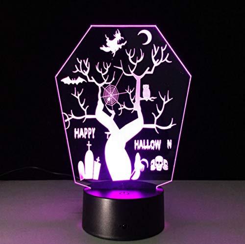 All Usts Tree 3D Led Night Light Vision Stereo Lampada 7 Cambia colore Usb Led come decorazioni di Halloween Controllo Bluetooth