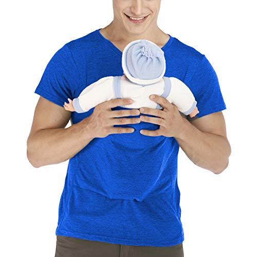 amropi Herren Babytrage Beruhigen V-Ausschnitt Kurzarm Känguru T Shirt Tops (Blau,XL)