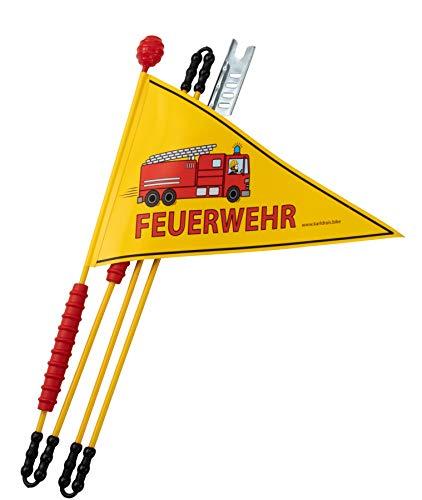 Karl Drais Fahrradfahne Feuerwehr | Fahrradwimpel Fahne Feuerwehrmann | Jungen Sicherheitswimpel