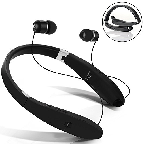 Auricolare Bluetooth Cuffie Bluetooth 4.1 Senza Fili Disegno Neckband con Earbuds Retraibile per Iphone, Android, Tablet, altri Dispositivi Abilitati Bluetooth...