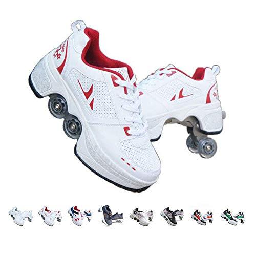 Fbestxie QUEMIN Patins A roulettes Reglables, Rollers en Ligne pour Enfants,Quatre Roues Fille Chaussures À roulettes, Deform Wheels Skates Kick Roller...