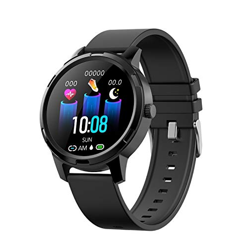 LIJDD Soporte Monitoreo de frecuencia cardíaca en Tiempo Real/Monitoreo del sueño/Bluetooth/Reloj de Alarma, X20 1.3 Pulgadas Círculo Completo TFT Pantalla TFT Reloj Deportivo IP67 IP67 impermea
