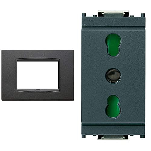 VIMAR 20653.15 Eikon Placca Classic 3 Moduli Antracite Matt & Presa 2Pcon T 16A P17/11 Grigio
