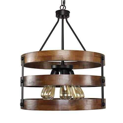 Lámpara de techo de metal y madera circular, colgante de cinco luces, acabado negro con acabado retro vintage industrial rústico