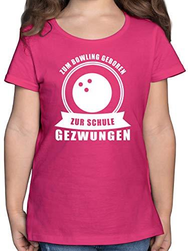 Sport Kind - Zum Bowling geboren. Zur Schule gezwungen - 152 (12/13 Jahre) - Fuchsia - Geschenk - F131K - Mädchen Kinder T-Shirt