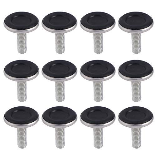 Yardwe 12 Pezzi Piedini per mobili Regolabili Piedini livellatori per tavoli e sedie Cursori Protezioni per Pavimenti Gambe per mobili M8 x 25mm (Nero)