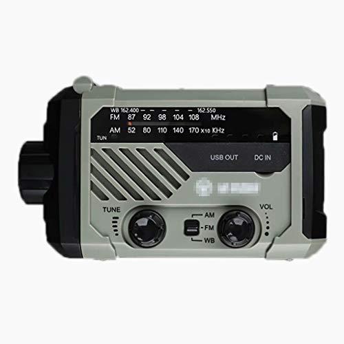 YZX Radio de manivela Solar de Emergencia, transmisión meteorológica Am/FM portátil para Exteriores multifunción para el hogar, con Funciones de Alerta SOS de Linterna(Verde)