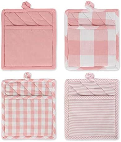 DII Gingham Check Kitchen Collection Potholder S 4 Pink White 4 Pieces product image