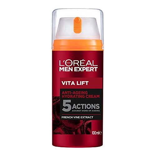 L'Oréal Men Expert Gesichtspflege gegen Falten, Anti-Aging Gesichtsgel für Männer, Sofortiger Anti-Augenringe- und Anti-Falten-Effekt, Vita Lift Feuchtigkeitspflege, 1 x 100 ml