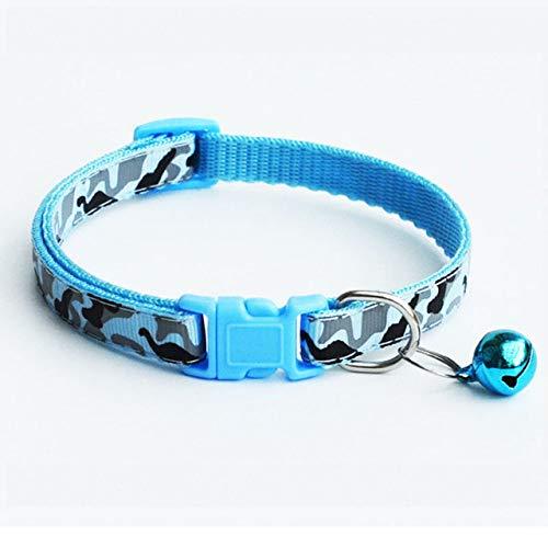 LYWQD Nylon Hundehalsband Halsband Mode Verstellbare Camo Bell Pet Hundehalsband, Blau