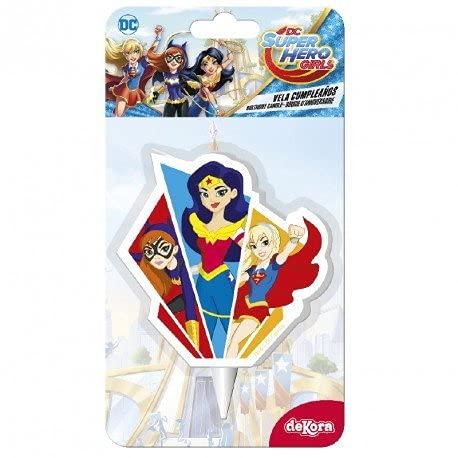 Dekora 346198 Vela Super Hero Girls para Decoración, Multicolor