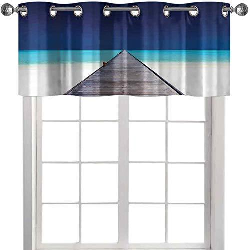 Cenefa de madera larga sobre la playa arena con agua de cristal tropical hawaiano paraíso 42 pulgadas de ancho x 18 pulgadas de largo cenefa de ventana para dormitorio azul marino turquesa crema