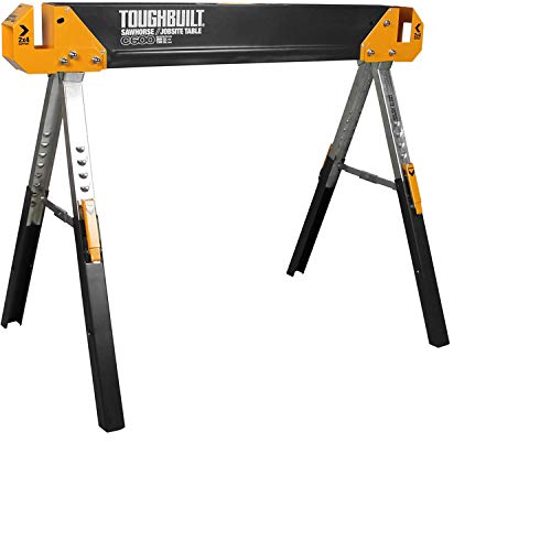 ToughBuilt Folding Sawhorse/Jobsite Table - Sturdy, Durable, Lightweight, Heavy-Duty, 100% High...