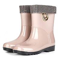 [G7LZ] レディース カーキ(裏起毛) レインシューズ おしゃれ 無地 サイドゴア レインブーツ 晴雨兼用 防水 大雨 厚底 23.0cm 雨靴 防水 軽量 ショート ブーツ 雨具 滑り止め 梅雨対策 おしゃれ かわいい 通勤通学 アウトドア カジュアル