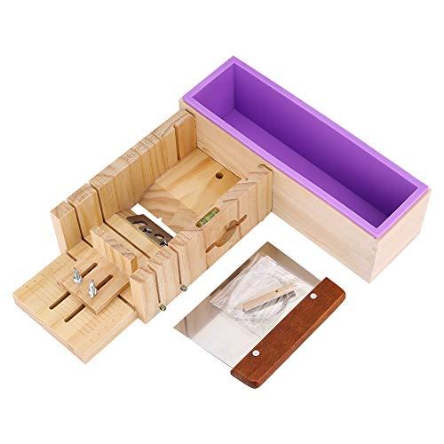Seife Silikon Form, handgefertigt verstellbar Holz Seife Laib Cutter Form mit Holzbox, Silikon Seife Form Holz Box Cake Maker Cutting Schneide Cutter macht Werkzeug