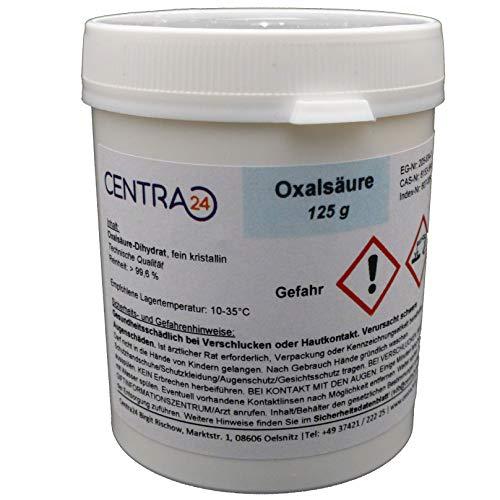 Centra24 Oxalsäure, 125g, 99,6%, Kleesäure, Oxalsäure-Dihydrat, Holzreiniger, Pulver, Imker, Bienen, Reiniger, Rostflecken, Marmor polieren, Bleichmittel, Verdampfer