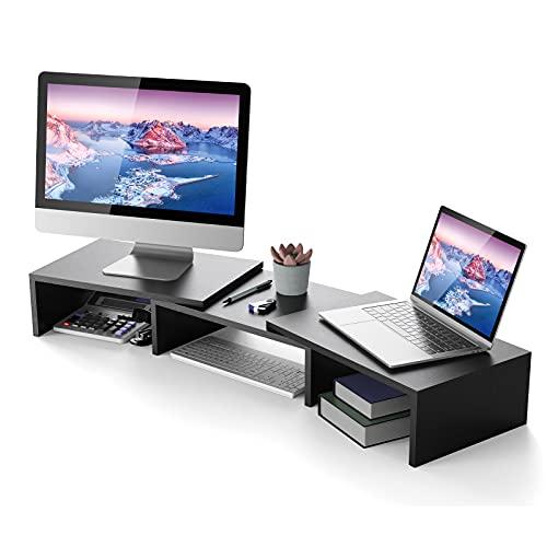 ATUMTEK Soporte Elevador Doble para Monitor, Soporte Monitor Mesa con Longitud y Ángulos Ajustables para Monitor PC, TV, Ordenador Portátil, Proyector, Impresora - Negro