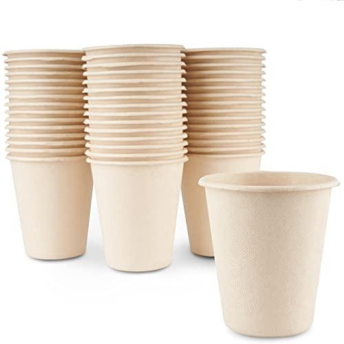 HAAGO 100 Vasos Biodegradables de Caña de Azúcar Ecológicos y Compostables, 260ml