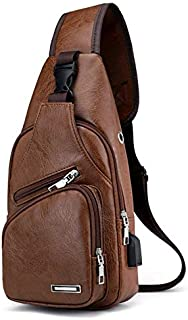 Fashion Trendy Men Chest Bag Cycling Sports Bag PU Leather Casual Business Bag Sling Shoulder Bag for Camping Hiking - Light Brown